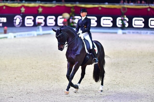 Jessica von Bredow-Werndl (GER) und Unee BB belegten Rang drei im FEI World Cup™ Dressage Grand Prix Freestyle presented by Familie Gaston und Kathrin Glock. © im|press|ions - Daniel Kaiser