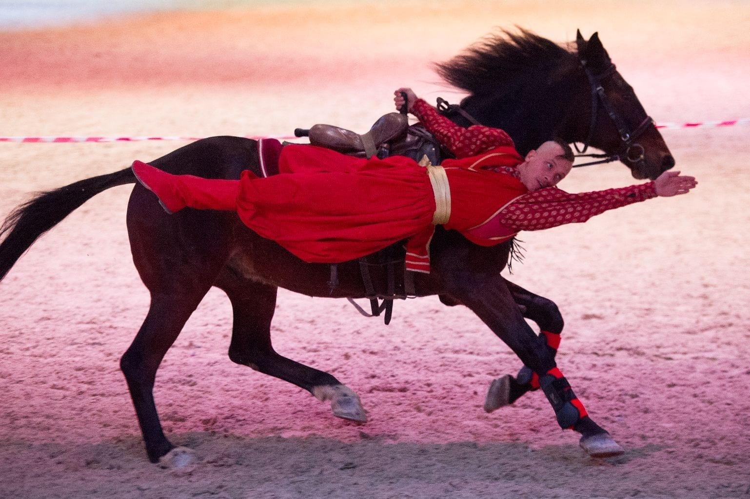 """Am Freitag, Samstag und Sonntag heißt es in der Salzburgarena traditionell """"It`s Showtime!"""" und dann begeistern zwei- und vierbeinige Weltstars die Besucher der Amadeus Horse Indoors mit spektakulären Stunts, beeindruckender Freiheitsdressur, rasanter Fahrkunst oder nie dagewesenen Kunststücken. © Nini Schäbel"""
