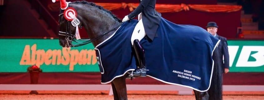 So sehen Sieger aus: Karoline Valenta und Valenta's Diego. © Amadeus Horse Indoors