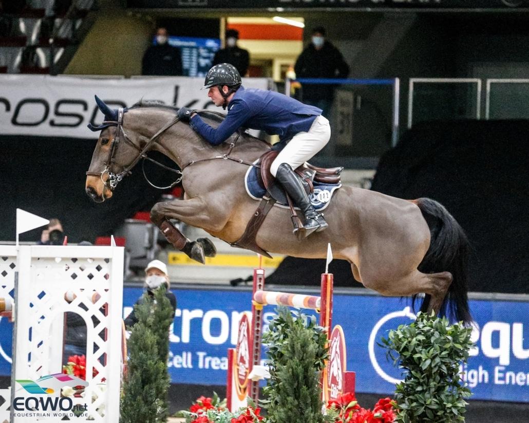 Auf den dritten Rang im EQUITRON-pro Grand Prix of Salzburg springt Arnaud Doem (BEL) mit seinem 11-jährigen Edgard de Prefontaine. © Eqwo.net
